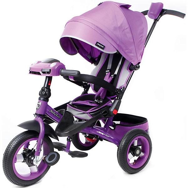 Трёхколёсный велосипед Moby Kids Leader 360° Air Car 12x10, фиолетовыйВелосипеды и аксессуары<br>Характеристики товара:<br><br>• возраст: от 3 лет;<br>• материал: метал, алюминий, резина, текстиль;<br>• с разворотным сиденьем Leader 360°;<br>• кнопка холостого хода;<br>• светомузыкальная панель;<br>• ручка регулируется по росту; <br>• диаметр переднего колеса - 30 см (12); <br>• диаметр задних колес - 25 см (10);<br>• размер упаковки: 60х32х42 см;<br>• вес: 11 кг.;<br>• страна бренда: Россия;<br>• бренд: Moby Kids.<br><br>Светомузыкальная панель работает от 3-х батареек типа АА на 1,5 V (в комплект не входят).<br><br>Трёхколёсный велосипед с усовершенствованным дизайном Moby Kids Leader 360° 12x10 AIR Car. В модели предусмотрена кнопка переключения «холостого» хода. При включении этой кнопки ребёнок сможет крутить педали вхолостую, в то время как колёса будут оставаться без движения. Это поможет малышу потренироваться перед первой серьёзной поездкой и освоить новые для себя движения, не перегружая ноги. <br><br>Функция разворота сиденья на 360 градусов позволяет ребёнку сидеть во время прогулки как лицом по направлению движения, так и лицом к родителям. Встроенная светомузыкальная панель «машинка» станет приятным дополнением к поездке. При нажатии на кнопочки панели, ребёнок будет слышать реалистичные автомобильные звуки, сопровождающиеся завораживающим свечением фар. <br> <br>Велосипед оснащён телескопической ручкой-толкателем с подставкой для бутылочки, а также складным рулём, педалями, съёмными подставками для ног и складными подножками.<br><br>Мягкий вкладыш и высокая спинка с бортиками обеспечивают комфортную посадку ребёнка. Увеличенный складной тент колясочного типа имеет съёмный козырёк на молнии. Регулировка угла наклона тента осуществляется нажатием кнопки. Уровень наклона спинки можно зафиксировать в нескольких положениях.<br><br>В целях безопасности предусмотрен ножной стояночный тормоз, который позволяет родителям застопорить колеса на время остановки. 