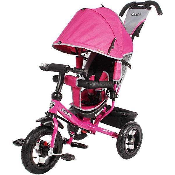 Велосипед Moby Kids3кол. Comfort 12x10 AIR, лилов.Велосипеды и аксессуары<br>Детский трёхколёсный велосипед Moby Kids Comfort 12х10 AIR. Одним из главных достоинств данной модели является увеличенный диаметр колёс. Это свойство позволяет ребёнку легче преодолевать неровности на дороге во время самостоятельной езды. А для совсем маленьких, начинающих водителей предусмотрен переключатель «свободного хода» переднего колеса. При включении этой функции малыш сможет крутить педали вхолостую отдельно от колеса, привыкая таким образом к новому для него виду движения. Характеристики: металлическая рама; резиновые надувные шины, алюминиевый обод с подшипниками; диаметр переднего колеса составляет 30 см (12), диаметр задних колёс - 25 см (10); переключатель свободного хода переднего колеса; двойная телескопическая ручка-толкатель с сумочкой; мягкий вкладыш-«кенгуру» на сидении; сиденье с высокой спинкой; несколько положений спинки; складной тент колясочного типа с фиксаторами положения; ножной тормоз; раздвижная дуга безопасности с мягкими подлокотниками; ремень безопасности; звонок и красочная вертушка «ветерок» на руле; складные подставки для ног; тканевая багажная корзина на металлическом каркасе.<br>Ширина мм: 600; Глубина мм: 320; Высота мм: 420; Вес г: 12400; Цвет: лиловый; Возраст от месяцев: 24; Возраст до месяцев: 24; Пол: Женский; Возраст: Детский; SKU: 8317115;