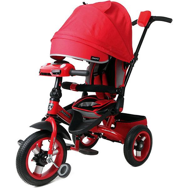 Трёхколёсный велосипед Moby Kids Leader 360° Air Car 12x10, красныйВелосипеды и аксессуары<br>Характеристики товара:<br><br>• возраст: от 3 лет;<br>• материал: метал, алюминий, резина, текстиль;<br>• с разворотным сиденьем Leader 360°;<br>• кнопка холостого хода;<br>• светомузыкальная панель;<br>• ручка регулируется по росту; <br>• диаметр переднего колеса - 30 см (12); <br>• диаметр задних колес - 25 см (10);<br>• размер упаковки: 60х32х42 см;<br>• вес: 11 кг.;<br>• страна бренда: Россия;<br>• бренд: Moby Kids.<br><br>Светомузыкальная панель работает от 3-х батареек типа АА на 1,5 V (в комплект не входят).<br><br>Трёхколёсный велосипед с усовершенствованным дизайном Moby Kids Leader 360° 12x10 AIR Car. В модели предусмотрена кнопка переключения «холостого» хода. При включении этой кнопки ребёнок сможет крутить педали вхолостую, в то время как колёса будут оставаться без движения. Это поможет малышу потренироваться перед первой серьёзной поездкой и освоить новые для себя движения, не перегружая ноги. <br><br>Функция разворота сиденья на 360 градусов позволяет ребёнку сидеть во время прогулки как лицом по направлению движения, так и лицом к родителям. Встроенная светомузыкальная панель «машинка» станет приятным дополнением к поездке. При нажатии на кнопочки панели, ребёнок будет слышать реалистичные автомобильные звуки, сопровождающиеся завораживающим свечением фар. <br> <br>Велосипед оснащён телескопической ручкой-толкателем с подставкой для бутылочки, а также складным рулём, педалями, съёмными подставками для ног и складными подножками.<br><br>Мягкий вкладыш и высокая спинка с бортиками обеспечивают комфортную посадку ребёнка. Увеличенный складной тент колясочного типа имеет съёмный козырёк на молнии. Регулировка угла наклона тента осуществляется нажатием кнопки. Уровень наклона спинки можно зафиксировать в нескольких положениях.<br><br>В целях безопасности предусмотрен ножной стояночный тормоз, который позволяет родителям застопорить колеса на время остановки. Поз