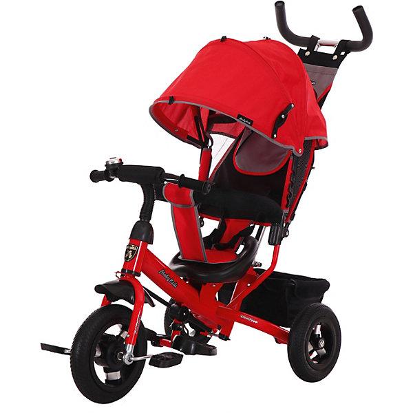 Трёхколёсный велосипед Moby Kids Comfort Air 10x8, красныйВелосипеды и аксессуары<br>Детский трёхколёсный велосипед Moby Kids Comfort 10х8 AIR. Отличительным свойством модели является наличие переключателя «свободного хода» переднего колеса. При включении данной функции ребёнок сможет крутить педали вхолостую отдельно от колеса, привыкая таким образом к новому для него виду движения. Благодаря этой особенности велосипед идеально подходит для начинающих водителей. Характеристики: металлическая рама; резиновые надувные шины, алюминиевый обод с подшипниками; диаметр переднего колеса - 25 см (12); диаметр задних колес - 20 см (10); переключатель свободного хода переднего колеса; двойная телескопическая ручка-толкатель с сумочкой; мягкий вкладыш-«кенгуру» на сидении; сиденье с высокой спинкой; несколько положений спинки; складной тент колясочного типа с фиксаторами положения; ножной тормоз; раздвижная дуга безопасности с мягкими подлокотниками; ремень безопасности; звонок и красочная вертушка «ветерок» на руле; складные подставки для ног; тканевая багажная корзина на металлическом каркасе.<br>Ширина мм: 600; Глубина мм: 320; Высота мм: 420; Вес г: 10200; Цвет: красный; Возраст от месяцев: 24; Возраст до месяцев: 48; Пол: Унисекс; Возраст: Детский; SKU: 8317125;