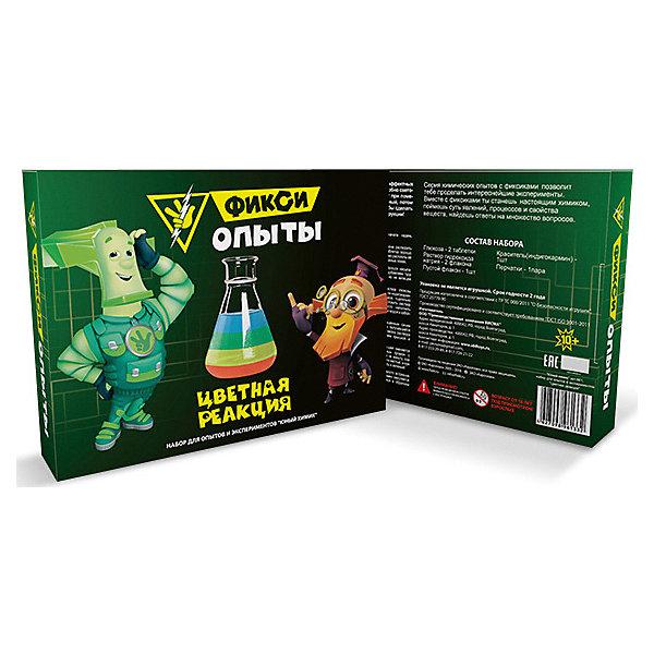 Набор для опытов Висма Фикси опыты Цветная реакцияХимия и физика<br>Характеристики товара:<br><br>• возраст: от 10 лет;<br>• материал: картон, пластик;<br>• размер упаковки: 25,5х18,5х5 см;<br>• вес упаковки: 280 гр.<br><br>Набор для опытов Висма Фикси-опыты «Цветная реакция» поможет детям понаблюдать, как жидкость меняет цвет с одного на другой при помешивании. С помощью набора дети познакомятся с основами химии и смогут понаблюдать за протеканием реакций.<br><br>Набор для опытов Висма Фикси-опыты «Цветная реакция» можно приобрести в нашем интернет-магазине.<br>Ширина мм: 255; Глубина мм: 50; Высота мм: 185; Вес г: 280; Цвет: разноцветный; Возраст от месяцев: 120; Возраст до месяцев: 2147483647; Пол: Унисекс; Возраст: Детский; SKU: 8317159;