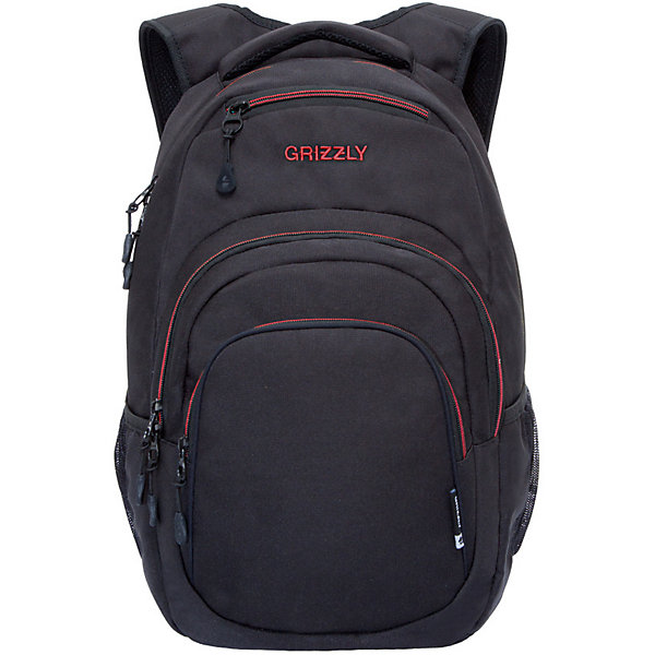Рюкзак Grizzly, черный/красныйРюкзаки<br>Характеристики:<br><br>• молодежный рюкзак;<br>• анатомическая жесткая спинка;<br>• укрепленные лямки;<br>• нагрудная стяжка-фиксатор;<br>• дополнительная ручка-петля;<br>• полужесткое дно;<br>• вмещает формат А4;<br>• материал: полиэстер;<br>• размер рюкзака: 32х45х23 см;<br>• вес: 891 г;<br>• объем: 24 л.<br><br>Городской мужской рюкзак Grizzly имеет два отделения, объемный карман на молнии на передней стенке, боковые карманы из сетки, внутренний карман на молнии, внутренний составной пенал-органайзер, внутренний укрепленный карман для ноутбука, карман быстрого доступа в передней части рюкзака. Карманы застегиваются на молнию. <br><br>Grizzly Рюкзак черный можно купить в нашем интернет-магазине.<br>Ширина мм: 330; Глубина мм: 40; Высота мм: 480; Вес г: 661; Цвет: черный/розовый; Возраст от месяцев: 120; Возраст до месяцев: 2147483647; Пол: Мужской; Возраст: Детский; SKU: 8317240;