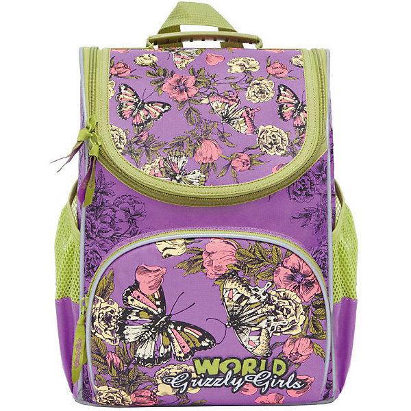 Рюкзак школьный Grizzly с мешком для обуви, лиловыйРюкзаки<br>Характеристики:<br><br>• школьный рюкзак-ранец;<br>• жесткая анатомическая спинка;<br>• укрепленные лямки;<br>• дополнительная ручка-петля;<br>• замок: молния;<br>• откидное жесткое дно;<br>• вмещает формат А4;<br>• светоотражающие элементы;<br>• в комплекте: мешок для обуви;<br>• материал: полиэстер;<br>• размер рюкзака: 25х33х13 см;<br>• вес: 680 гр.<br><br>Школьный рюкзак Grizzly имеет одно отделение, объемный карман на молнии на передней стенке, боковые карманы из сетки, разделительную перегородку-органайзер, брелок-катафот, светоотражающие элементы с четырех сторон. Жесткая спинка разработана с учетом анатомии ребенка, позвоночник защищен специально сконструированной спинкой.<br><br>Grizzly Рюкзак школьный с мешком можно купить в нашем интернет-магазине.<br>Ширина мм: 250; Глубина мм: 130; Высота мм: 330; Вес г: 620; Цвет: лиловый; Возраст от месяцев: 72; Возраст до месяцев: 108; Пол: Женский; Возраст: Детский; SKU: 8317246;