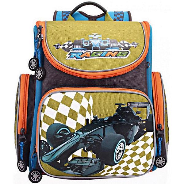 Купить RA-870-2 Рюкзак школьный с мешком /1 серый - зеленый, Grizzly, Китай, schwarz/grün, Мужской