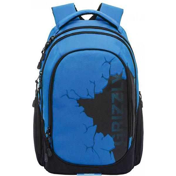 Рюкзак Grizzly, синийРюкзаки<br>Характеристики:<br><br>• молодежный рюкзак;<br>• жесткая анатомическая спинка;<br>• укрепленные лямки;<br>• дополнительная укрепленная ручка;<br>• замок: молния;<br>• полужесткое дно;<br>• вмещает формат А4;<br>• брелок для ключей;<br>• материал: полиэстер;<br>• размер рюкзака: 30х42х19 см;<br>• вес: 850 гр.<br><br>Городской рюкзак Grizzly имеет два отделения, два объемных кармана на молнии на передней стенке, боковые карманы из сетки, внутренний карман,внутренний карман для электронных устройств, внутренний составной пенал-органайзер.<br><br>Grizzly Рюкзак синий можно купить в нашем интернет-магазине.<br>Ширина мм: 280; Глубина мм: 40; Высота мм: 440; Вес г: 600; Цвет: синий; Возраст от месяцев: 120; Возраст до месяцев: 2147483647; Пол: Мужской; Возраст: Детский; SKU: 8317252;