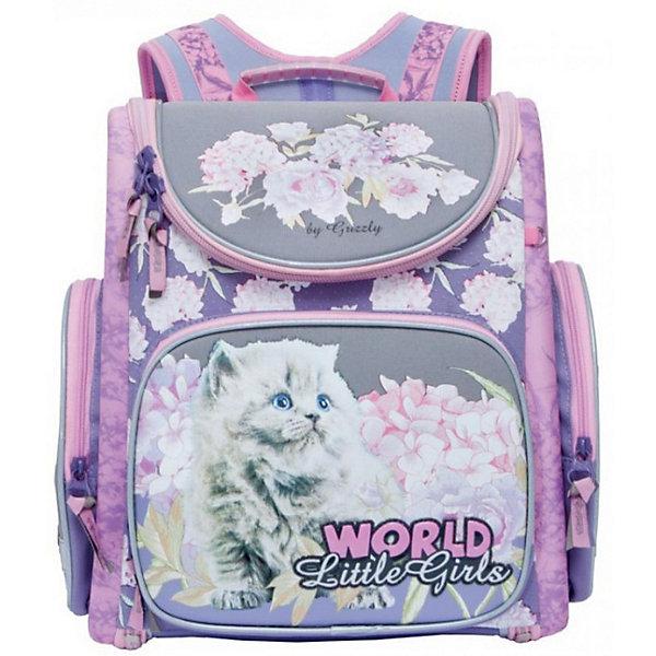 Купить RA-871-15 Рюкзак школьный с мешком /1 лиловый, Grizzly, Китай, Женский