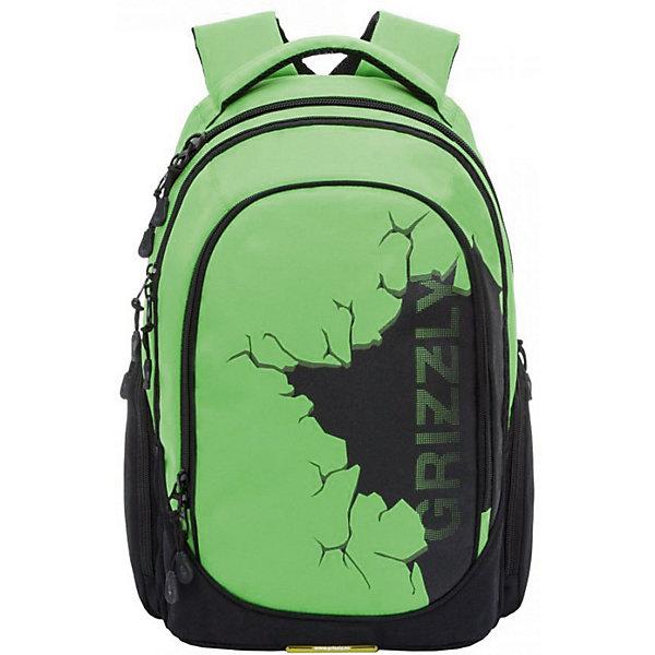 Рюкзак Grizzly, салатовыйРюкзаки<br>Характеристики:<br><br>• молодежный рюкзак;<br>• жесткая анатомическая спинка;<br>• укрепленные лямки;<br>• дополнительная ручка-петля;<br>• замок: молния;<br>• полужесткое дно;<br>• вмещает формат А4;<br>• материал: полиэстер;<br>• размер рюкзака: 31х46х21 см;<br>• вес: 940 гр.<br><br>Три отделения, объемные боковые карманы на молнии, внутренний карман, внутренний подвесной карман на молнии, внутренний составной пенал-органайзер, жесткая анатомическая спинка, мягкая укрепленная ручка, укрепленные лямки.<br><br>Grizzly Рюкзак зеленый можно купить в нашем интернет-магазине.<br>Ширина мм: 280; Глубина мм: 40; Высота мм: 440; Вес г: 600; Цвет: светло-зеленый; Возраст от месяцев: 120; Возраст до месяцев: 2147483647; Пол: Мужской; Возраст: Детский; SKU: 8317326;