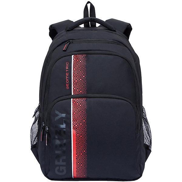 Рюкзак Grizzly, черный/красныйРюкзаки<br>Характеристики:<br><br>• молодежный рюкзак;<br>• анатомическая жесткая спинка;<br>• укрепленные лямки;<br>• нагрудная стяжка-фиксатор;<br>• дополнительная ручка-петля;<br>• полужесткое дно;<br>• вмещает формат А4;<br>• материал: полиэстер;<br>• размер рюкзака: 32х45х23 см;<br>• вес: 891 г;<br>• объем: 24 л.<br><br>Городской мужской рюкзак Grizzly имеет два отделения, объемный карман на молнии на передней стенке, боковые карманы из сетки, внутренний карман на молнии, внутренний составной пенал-органайзер, внутренний укрепленный карман для ноутбука, карман быстрого доступа в передней части рюкзака. Карманы застегиваются на молнию. <br><br>Grizzly Рюкзак черный можно купить в нашем интернет-магазине.<br>Ширина мм: 320; Глубина мм: 40; Высота мм: 450; Вес г: 891; Цвет: черный/розовый; Возраст от месяцев: 120; Возраст до месяцев: 2147483647; Пол: Мужской; Возраст: Детский; SKU: 8317344;
