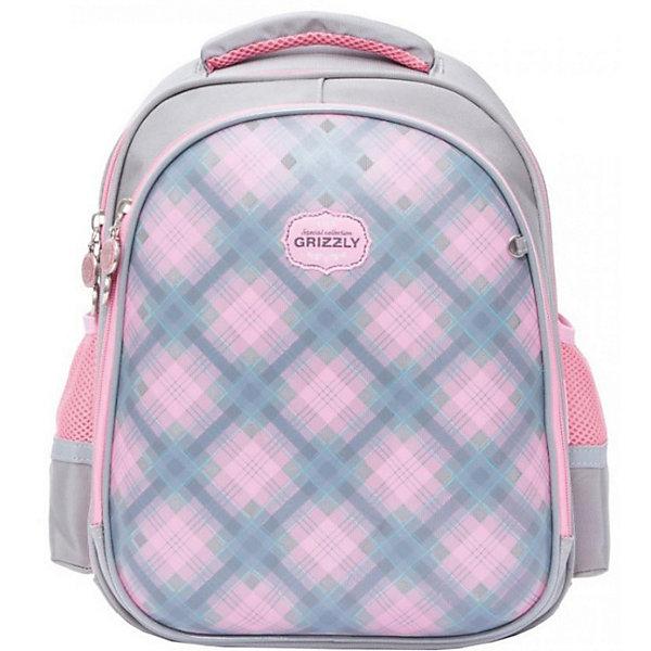 Рюкзак школьный Grizzly, серыйРюкзаки<br>Характеристики:<br><br>• формованный школьный рюкзак;<br>• жесткая анатомическая спинка;<br>• укрепленные лямки;<br>• лямки регулируются по длине и высоте; <br>• дополнительная ручка для переноски рюкзака в руках;<br>• замок: молния;<br>• жесткое дно;<br>• вмещает формат А4;<br>• светоотражающие элементы;<br>• материал: полиэстер;<br>• размер рюкзака: 28х36х20 см;<br>• вес: 990 гр.<br><br>Формованный школьный рюкзак Grizzly хорошо держит форму, имеет два отделения, в основном из которых находится еще три отдела.Внутренний отдел-органайзер: карманы для ручек, телефона, мелких предметов и держателем для ключей. Жесткая спинка разработана с учетом анатомии ребенка, позвоночник защищен специально сконструированной спинкой.<br><br>Grizzly Рюкзак каркасный школьный можно купить в нашем интернет-магазине.<br>Ширина мм: 280; Глубина мм: 200; Высота мм: 360; Вес г: 960; Цвет: серый; Возраст от месяцев: 72; Возраст до месяцев: 108; Пол: Женский; Возраст: Детский; SKU: 8317346;