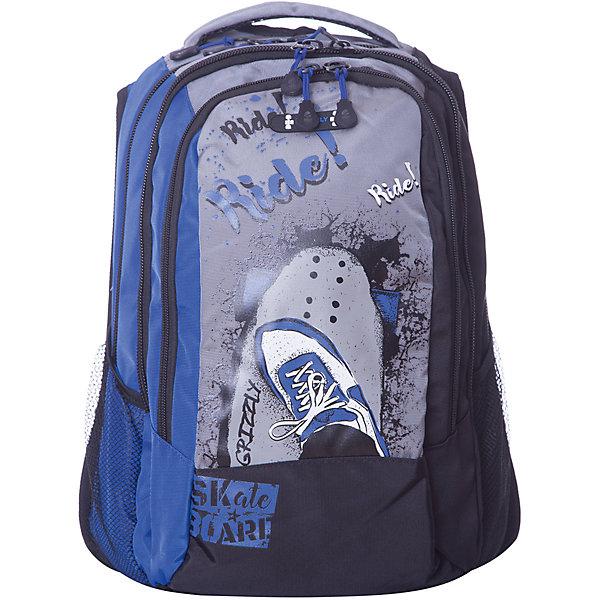 Рюкзак Grizzly, синийРюкзаки<br>Характеристики:<br><br>• молодежный рюкзак;<br>• жесткая анатомическая спинка;<br>• укрепленные лямки;<br>• дополнительная укрепленная ручка;<br>• замок: молния;<br>• полужесткое дно;<br>• вмещает формат А4;<br>• брелок для ключей;<br>• материал: полиэстер;<br>• размер рюкзака: 30х42х19 см;<br>• вес: 850 гр.<br><br>Городской рюкзак Grizzly имеет два отделения, два объемных кармана на молнии на передней стенке, боковые карманы из сетки, внутренний карман,внутренний карман для электронных устройств, внутренний составной пенал-органайзер.<br><br>Grizzly Рюкзак синий можно купить в нашем интернет-магазине.<br>Ширина мм: 310; Глубина мм: 40; Высота мм: 430; Вес г: 720; Цвет: синий; Возраст от месяцев: 120; Возраст до месяцев: 2147483647; Пол: Мужской; Возраст: Детский; SKU: 8317350;