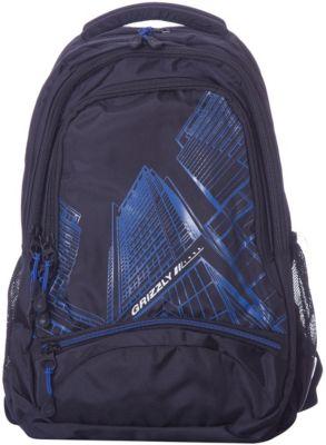 Рюкзак Grizzly, чёрный/синий, артикул:8317378 - Школьные рюкзаки и ранцы