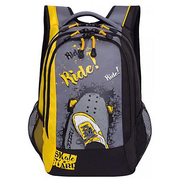 Рюкзак Grizzly, жёлтыйРюкзаки<br>Характеристики:<br><br>• молодежный рюкзак;<br>• жесткая анатомическая спинка;<br>• укрепленные лямки;<br>• дополнительная ручка-петля;<br>• дополнительная укрепленная ручка;<br>• замок: молния;<br>• полужесткое дно;<br>• вмещает формат А4;<br>• материал: полиэстер;<br>• размер рюкзака: 32х47х18 см;<br>• вес: 1100 гр.<br><br>Городской рюкзак Grizzly имеет три отделения, боковые карманы из сетки, внутренний карман-пенал для карандашей, внутренний подвесной карман на молнии, жесткая анатомическая спинка, мягкая укрепленная ручка, укрепленные лямки.<br><br>Grizzly Рюкзак  серый, желтый можно купить в нашем интернет-магазине.<br>Ширина мм: 310; Глубина мм: 40; Высота мм: 430; Вес г: 720; Цвет: желтый; Возраст от месяцев: 120; Возраст до месяцев: 2147483647; Пол: Мужской; Возраст: Детский; SKU: 8317392;