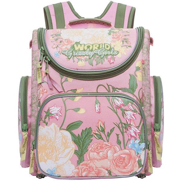 Купить RA-871-4 Рюкзак школьный с мешком /1 розовый, Grizzly, Китай, розовый/розовый, Женский