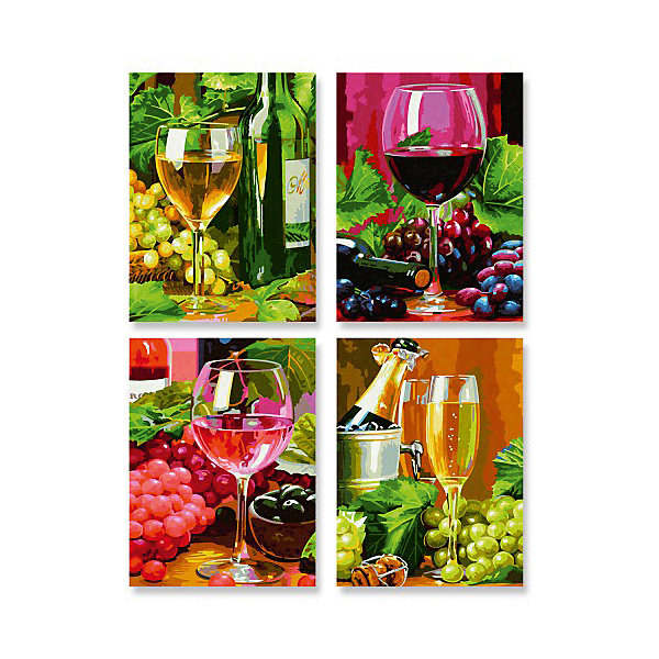 Schipper Картина по номерам Schipper Вино 4 шт., 18х24 см картины постеры гобелены панно картины в квартиру картина бесконечность линий 35х35 см