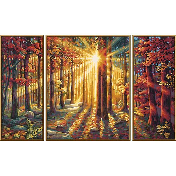 Картина-триптих по номерам Schipper Осенний лес 50х80 смКартины по номерам<br>Характеристики:<br><br>• возраст: от 12 лет<br>• в наборе: 3 фактурные картонные основы с пронумерованными контурами; акриловые краски на водной основе 30 цветов; кисточка из нейлона; наклейки с номерами; контрольный лист; инструкция.<br>• количество картин: 3 шт. (изображение единое)<br>• размер картины: 50х80см. (20х50 см 40х50см 20х50 см.)<br>• форма собранной картины: прямоугольная горизонтальная<br>• упаковка: картонная коробка<br>• температура хранения: выше +5°C.<br>• произведено в Германии<br><br>Набор для раскрашивания по номерам «Осенний лес» от компании Schipper (Шиппер) - это набор для творчества, в который входит все необходимое для создания картины из трех частей с изображением осеннего леса, освещенного ярким солнцем.<br><br>Нарисовать удивительную картину будет под силу даже тем, кто не обладает навыками художников. Картины-заготовки выполнены на фактурной картонной основе с пронумерованными контурами. Для создания шедевра потребуется аккуратно, шаг за шагом, заполнять цветными акриловыми красками пронумерованные участки холста. Картина раскрашиваются без смешивания красок.<br><br>В наборе имеется контрольный лист, на котором можно потренироваться в нанесении цвета или сверить номер краски на каком-либо участке картины. Акриловые краски содержатся в очень плотно закрытых контейнерах, поэтому доходят до покупателя, сохранив свои свойства.<br><br>Раскрашивание по номерам позволяет разить творческие способности, моторику пальцев, улучшить цветовосприятие.<br><br>Набор для раскрашивания по номерам Schipper Триптих Осенний лес, 50х80 см, 1/6 можно купить в нашем интернет-магазине.<br>Ширина мм: 30; Глубина мм: 410; Высота мм: 520; Вес г: 1160; Цвет: разноцветный; Возраст от месяцев: 144; Возраст до месяцев: 2147483647; Пол: Унисекс; Возраст: Детский; SKU: 8317720;