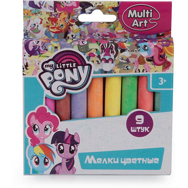 Мел для асфальта MultiArt My Little Pony, 9 цветовМелки для асфальта<br>Характеристики:<br><br>• возраст: от 3 лет<br>• в наборе: 9 разноцветных мелков<br>• упаковка: картонная коробка<br>• размер упаковки: 9x10x1 см.<br>• вес: 110 гр.<br><br>С мелками My Little Pony малыш сможет приятно проводить время в кругу друзей, рисуя забавные картинки, как на асфальте, так и на доске для рисования. Мелки устойчивы к стиранию, поэтому прослужат достаточно долго.<br><br>В комплекте 9 мелков ярких насыщенных цветов. Мелки упакованы в картонную коробку, которая украшена изображением героев мультсериала My Little Pony.<br><br>Мел для асфальта MultiArt My Little Pony, 9 цветов можно купить в нашем интернет-магазине.<br>Ширина мм: 90; Глубина мм: 10; Высота мм: 100; Вес г: 110; Цвет: разноцветный; Возраст от месяцев: 36; Возраст до месяцев: 84; Пол: Женский; Возраст: Детский; SKU: 8317987;