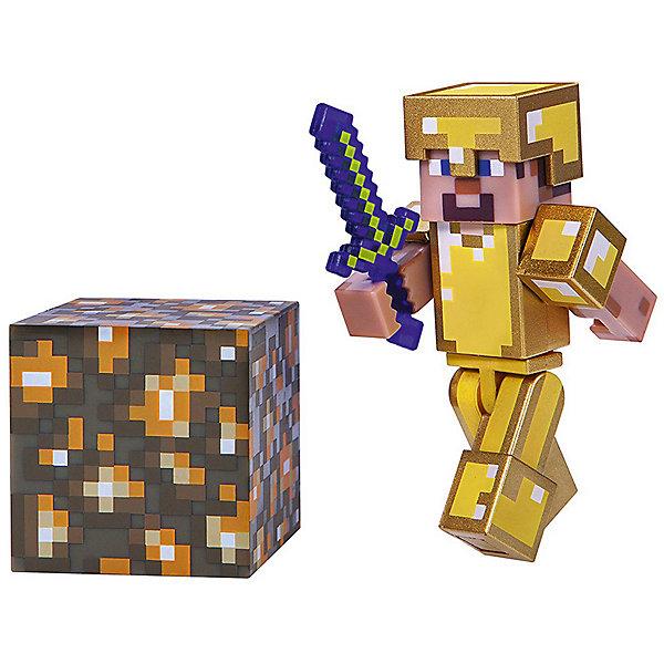 Игровая фигурка Jazwares Steve in Gold Armor,  8 смИгровые наборы с фигурками<br>Характеристики товара:<br><br>• материал: пластик <br>• в комплекте: фигурка, меч, блок<br>• серия: 4<br>• упаковка: блистер на картоне<br><br>Фигурка выполнена по мотивам популярной игры Minecraft. В точности повторяет одного из персонажей вселенной. Подвижные конечности позволяют придавать игрушке различные позы. Изготовлена из качественных и безопасных материалов. Станет отличным пополнением коллекции.