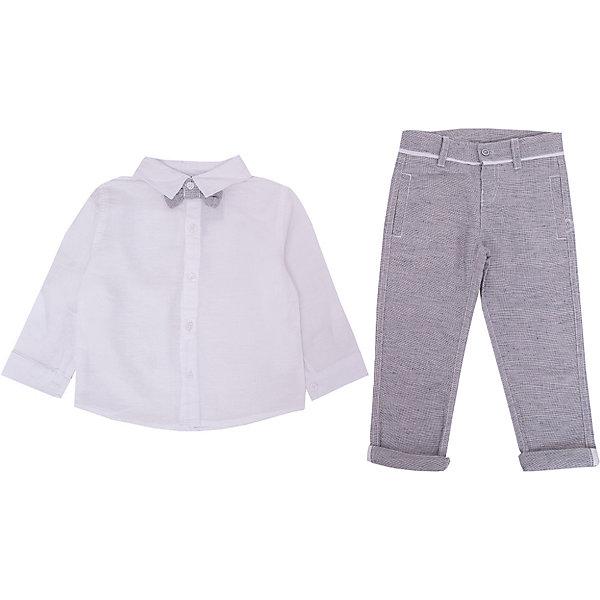 Комплект: Рубашка,брюки 3pommes для мальчикаКомплекты<br>Характеристики товара:<br><br>• цвет: белый, серый;<br>• комплектация: рубашка, брюки;<br>• состав ткани: 55% лен, 45% хлопок;<br>• сезон: круглый год;<br>• особенности модели: нарядная;<br>• застежка: пуговицы;<br>• длинные рукава; <br>• страна бренда: Франция.<br><br>Этот комплект для ребенка, разработанный дизайнерами французского бренда Absorba, отлично подойдет для торжественных моментов. Нарядный костюм для детей состоит из белой рубашки с имитацией галстука-бабочки и серых брюк, которые отлично сочетаются между собой. Материал детского комплекта - качественный, безопасный для детей. Детская одежда от знаменитого французского бренда 3 Pommes может обеспечить ребенку комфорт каждый день, в ней малыш привыкает к стильным вещам с детства.<br><br>Комплект: Рубашка, брюки 3 Pommes (3 Поммис) для мальчика можно купить в нашем интернет-магазине.<br>Ширина мм: 186; Глубина мм: 87; Высота мм: 198; Вес г: 197; Цвет: белый; Возраст от месяцев: 12; Возраст до месяцев: 18; Пол: Мужской; Возраст: Детский; Размер: 86,74,98,92; SKU: 8329169;