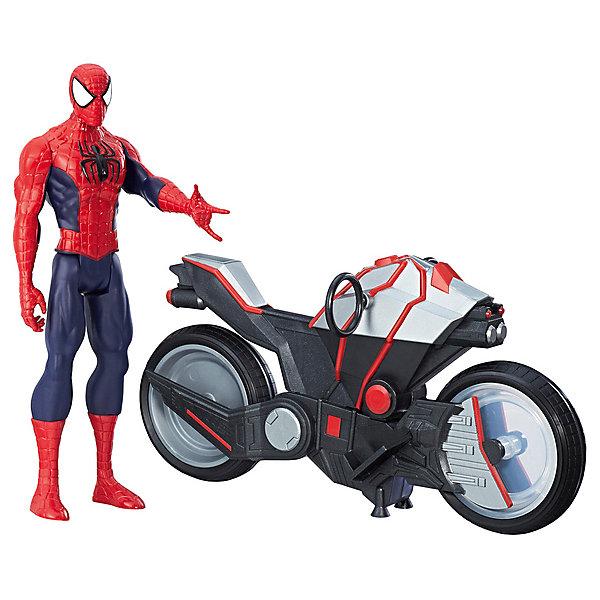 Hasbro Фигурка Marvel Avengers Человек-паук с мотоциклом, 30 см фигурка hasbro человек паук электронный злодей c0701