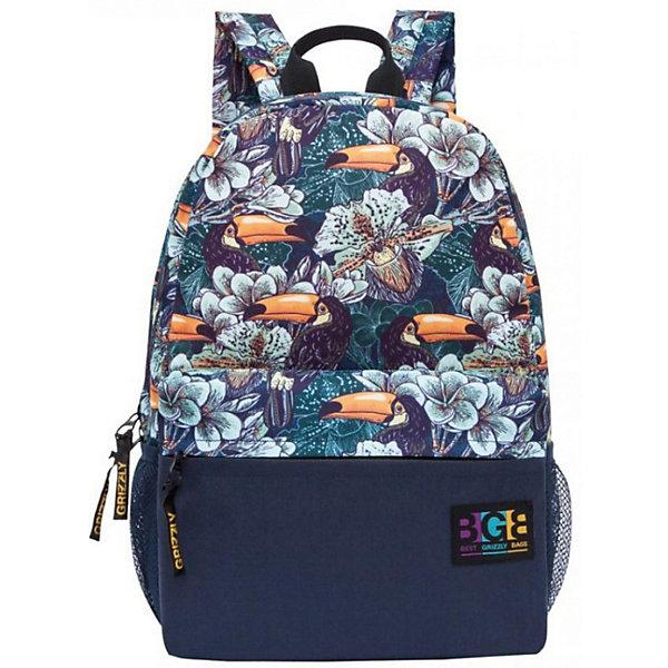 Рюкзак Grizzly, туканыРюкзаки<br>Характеристики:<br><br>• молодежный рюкзак;<br>• полужесткая анатомическая спинка;<br>• дополнительная ручка-петля;<br>• укрепленные лямки;<br>• уплотненное дно;<br>• тип застежки: молния;<br>• материал: полиэстер;<br>• размер рюкзака: 29х41х18 см;<br>• вес: 350 г.<br><br>Молодежный рюкзак имеет одно отделение, объемный карман на молнии на передней стенке, боковые карманы из сетки, внутренний карман, карман быстрого доступа на задней стенке. Рюкзак представлен в синем цвете, декорирован пестрым принтом - игривые туканы прячутся в цветочных зарослях. <br><br>Grizzly Рюкзак /1 туканы можно купить в нашем интернет-магазине.<br>Ширина мм: 290; Глубина мм: 40; Высота мм: 410; Вес г: 350; Цвет: разноцветный; Возраст от месяцев: 144; Возраст до месяцев: 2147483647; Пол: Мужской; Возраст: Детский; SKU: 8333788;