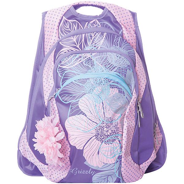 Рюкзак Grizzly, лиловый/розовыйРюкзаки<br>Характеристики:<br><br>• молодежный рюкзак;<br>• полужесткая анатомическая спинка;<br>• мягкая укрепленная ручка;<br>• укрепленные лямки;<br>• уплотненное дно;<br>• тип застежки: молния;<br>• вмещает формат А4;<br>• материал: полиэстер принтованный;<br>• размер рюкзака: 32х41х18 см;<br>• вес рюкзака: 740 г.<br><br>Молодежный рюкзак имеет два отделения, карман на молнии на передней стенке, внутренний карман-пенал для карандашей. Рюкзак с анатомической спинкой оснащен продольными подушечками из вентилируемого материала. Рюкзак представлен в розовом цвете, декорирован цветочным лиловым принтом. <br><br>Grizzly Рюкзак лиловый-розовый можно купить в нашем интернет-магазине.<br>Ширина мм: 320; Глубина мм: 40; Высота мм: 410; Вес г: 740; Цвет: розовый; Возраст от месяцев: 144; Возраст до месяцев: 2147483647; Пол: Женский; Возраст: Детский; SKU: 8333792;