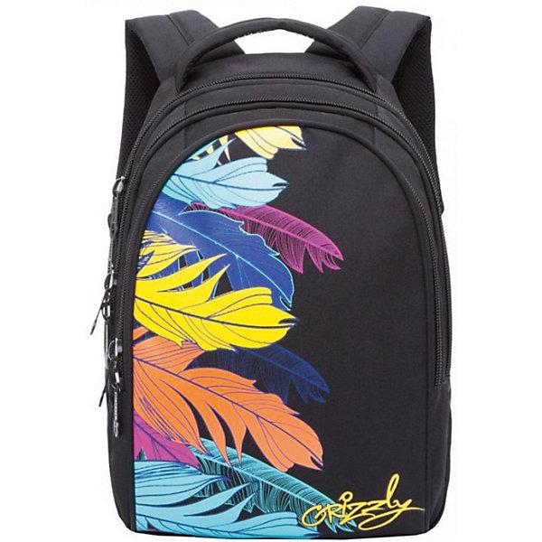 Рюкзак Grizzly, чёрныйРюкзаки<br>Характеристики:<br><br>• молодежный рюкзак;<br>• жесткая анатомическая спинка;<br>• мягкая укрепленная ручка;<br>• укрепленные лямки;<br>• уплотненное дно;<br>• тип застежки: молния;<br>• вмещает формат А4;<br>• материал: полиэстер;<br>• размер рюкзака: 28х41х20 см;<br>• вес: 855 г.<br><br>Молодежный рюкзак имеет три отделения, внутренний карман на молнии, внутренний карман-пенал для карандашей. Рюкзак представлен в черном цвете, декорирован ярким принтом в виде перьев. Внешний вид ранца дополняет логотип-аппликация бренда. <br><br>Grizzly Рюкзак черный можно купить в нашем интернет-магазине.<br>Ширина мм: 280; Глубина мм: 40; Высота мм: 410; Вес г: 855; Цвет: черный; Возраст от месяцев: 144; Возраст до месяцев: 2147483647; Пол: Женский; Возраст: Детский; SKU: 8333812;