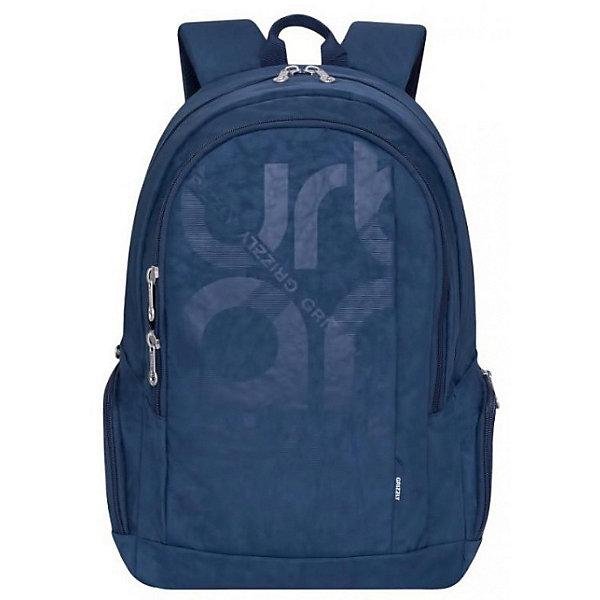 Рюкзак Grizzly, синийРюкзаки<br>Характеристики:<br><br>• молодежный рюкзак;<br>• жесткая анатомическая спинка;<br>• дополнительная ручка-петля;<br>• укрепленные лямки;<br>• уплотненное дно;<br>• тип застежки: молния;<br>• вмещает формат А4;<br>• материал: полиэстер;<br>• размер рюкзака: 30х46х17 см;<br>• вес: 580 г.<br><br>Молодежный рюкзак имеет два отделения, карман на молнии на передней стенке, объемные боковые карманы на молнии, внутренний карман для электронных устройств, внутренний карман на молнии,  внутренний составной пенал-органайзер. Рюкзак для детей в возрасте 12-15 лет.<br><br>Grizzly RU-808-1 Рюкзак /3 синий можно купить в нашем интернет-магазине.<br>Ширина мм: 300; Глубина мм: 40; Высота мм: 460; Вес г: 564; Цвет: синий; Возраст от месяцев: 120; Возраст до месяцев: 2147483647; Пол: Мужской; Возраст: Детский; SKU: 8333822;