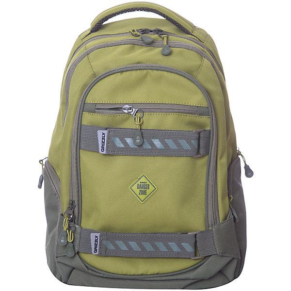Рюкзак Grizzly, оливковыйРюкзаки<br>Характеристики:<br><br>• молодежный рюкзак;<br>• жесткая анатомическая спинка;<br>• дополнительная ручка-петля;<br>• укрепленные лямки;<br>• уплотненное дно;<br>• тип застежки: молния;<br>• вмещает формат А4;<br>• материал: полиэстер;<br>• размер рюкзака: 28х44х23 см;<br>• вес: 830 г.<br><br>Молодежный рюкзак имеет три отделения, карман на молнии на передней стенке, объемные боковые карманы на молнии, внутренний карман, внутренний подвесной карман на молнии, внутренний составной пенал-органайзер. Вместительный рюкзак имеет множество отделений и дополнительных карманов. Функциональный рюкзак подходит для школы, походов, путешествий. <br><br>Grizzly RU-812-2 Рюкзак /4 оливковый можно купить в нашем интернет-магазине.<br>Ширина мм: 280; Глубина мм: 40; Высота мм: 440; Вес г: 830; Цвет: природный/оливковый; Возраст от месяцев: 120; Возраст до месяцев: 2147483647; Пол: Мужской; Возраст: Детский; SKU: 8333848;