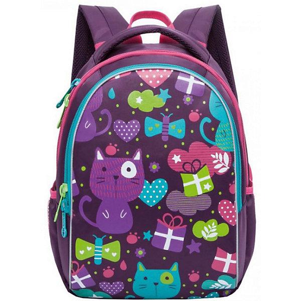 Рюкзак школьный Grizzly, фиолетовыйРюкзаки<br>Характеристики:<br><br>• школьный рюкзак;<br>• жесткая анатомическая спинка;<br>• дополнительная ручка-петля;<br>• мягкая укрепленная ручка;<br>• укрепленные лямки;<br>• уплотненное дно;<br>• тип застежки: молния;<br>• светоотражающие элементы;<br>• вмещает формат А4;<br>• материал: полиэстер;<br>• размер рюкзака: 27х37х17 см;<br>• вес: 657 г.<br><br>Школьный рюкзак имеет два отделения, внутренний карман-пенал для карандашей. Рюкзак оснащен дополнительными мягкими подушечками из вентилируемого материала. Светоотражающие элементы с четырех сторон позволяют обозначить ребенка в темное время суток в условиях недостаточной видимости. Рюкзак представлен в нежно-лиловом цвете. <br><br>Grizzly Рюкзак школьный можно купить в нашем интернет-магазине.<br>Ширина мм: 270; Глубина мм: 40; Высота мм: 370; Вес г: 570; Цвет: фиолетовый; Возраст от месяцев: 108; Возраст до месяцев: 144; Пол: Женский; Возраст: Детский; SKU: 8333862;
