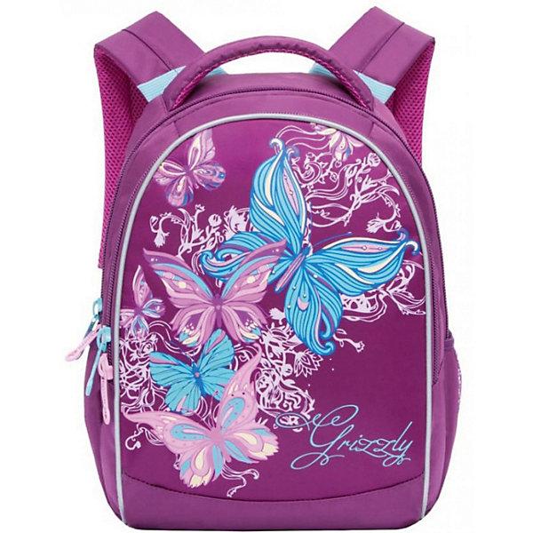 Рюкзак школьный Grizzly, лиловыйРюкзаки<br>Характеристики:<br><br>• школьный рюкзак;<br>• жесткая анатомическая спинка;<br>• дополнительная ручка-петля;<br>• мягкая укрепленная ручка;<br>• укрепленные лямки;<br>• уплотненное дно;<br>• тип застежки: молния;<br>• светоотражающие элементы;<br>• вмещает формат А4;<br>• материал: полиэстер;<br>• размер рюкзака: 27х37х17 см;<br>• вес: 657 г.<br><br>Школьный рюкзак имеет два отделения, внутренний карман-пенал для карандашей. Рюкзак оснащен дополнительными мягкими подушечками из вентилируемого материала. Светоотражающие элементы с четырех сторон позволяют обозначить ребенка в темное время суток в условиях недостаточной видимости. Рюкзак представлен в нежно-лиловом цвете. <br><br>Grizzly Рюкзак школьный, лиловый можно купить в нашем интернет-магазине.<br>Ширина мм: 270; Глубина мм: 40; Высота мм: 370; Вес г: 657; Цвет: лиловый; Возраст от месяцев: 108; Возраст до месяцев: 144; Пол: Женский; Возраст: Детский; SKU: 8333882;