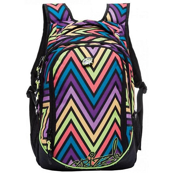 Рюкзак Grizzly, цветные зигзагиРюкзаки<br>Характеристики:<br><br>• школьный рюкзак;<br>• полужесткая анатомическая спинка;<br>• мягкая укрепленная ручка;<br>• укрепленные лямки;<br>• мягкое дно;<br>• тип застежки: молния;<br>• вмещает формат А4;<br>• материал: полиэстер принтованный, нейлон 900D;<br>• размер рюкзака: 29х40х19 см;<br>• вес рюкзака: 728 г.<br><br>Школьный рюкзак имеет три отделения, боковые карманы из сетки, внутренний карман на молнии, внутренний составной пенал-органайзер. Рюкзак представлен в фиолетовом цвете с принтом: темные круги-разводы со светлыми вкраплениями. Рюкзак хорошо подойдет ученикам средней школы, 5-7 класс. <br><br>Grizzly RD-635-1 Рюкзак /9 зиг-заги цветные можно купить в нашем интернет-магазине.<br>Ширина мм: 290; Глубина мм: 40; Высота мм: 400; Вес г: 718; Цвет: разноцветный; Возраст от месяцев: 144; Возраст до месяцев: 2147483647; Пол: Женский; Возраст: Детский; SKU: 8333902;