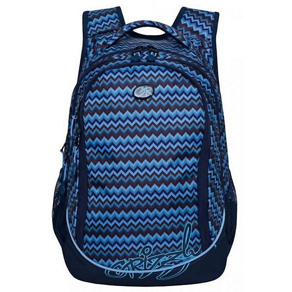 Рюкзак Grizzly, синий/голубойРюкзаки<br>Характеристики:<br><br>• молодежный рюкзак;<br>• укрепленная анатомическая спинка;<br>• мягкая укрепленная ручка;<br>• укрепленные лямки;<br>• уплотненное дно;<br>• тип застежки: молния;<br>• вмещает формат А4;<br>• материал: полиэстер;<br>• размер рюкзака: 29х40х19 см;<br>• вес: 570 г.<br><br>Молодежный рюкзак имеет три отделения, боковые карманы из сетки, внутренний карман на молнии, внутренний составной пенал-органайзер. Молодежный рюкзак представлен в синем цвете, декорирован принтом голубого цвета в виде зигзагообразных полос. Внешний вид ранца дополняет логотип бренда. <br><br>Grizzly Рюкзак синий-голубой можно купить в нашем интернет-магазине.<br>Ширина мм: 290; Глубина мм: 40; Высота мм: 400; Вес г: 570; Цвет: голубой; Возраст от месяцев: 144; Возраст до месяцев: 2147483647; Пол: Женский; Возраст: Детский; SKU: 8333908;