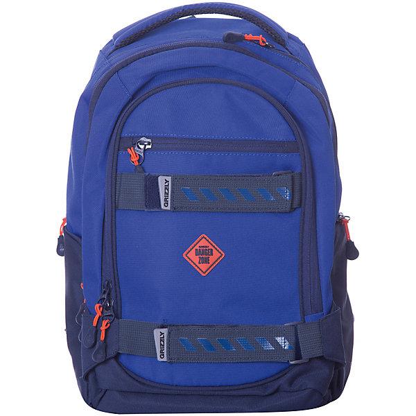 Рюкзак Grizzly, синийРюкзаки<br>Характеристики:<br><br>• молодежный рюкзак;<br>• жесткая анатомическая спинка;<br>• дополнительная ручка-петля;<br>• укрепленные лямки;<br>• уплотненное дно;<br>• тип застежки: молния;<br>• вмещает формат А4;<br>• материал: полиэстер;<br>• размер рюкзака: 28х44х23 см;<br>• вес: 830 г.<br><br>Молодежный рюкзак имеет три отделения, карман на молнии на передней стенке, объемные боковые карманы на молнии, внутренний карман, внутренний подвесной карман на молнии, внутренний составной пенал-органайзер. Вместительный рюкзак имеет множество отделений и дополнительных карманов. Функциональный рюкзак подходит для школы, походов, путешествий. <br><br>Grizzly RU-812-2 Рюкзак /3 синий можно купить в нашем интернет-магазине.<br>Ширина мм: 280; Глубина мм: 40; Высота мм: 440; Вес г: 830; Цвет: синий; Возраст от месяцев: 120; Возраст до месяцев: 2147483647; Пол: Мужской; Возраст: Детский; SKU: 8333912;