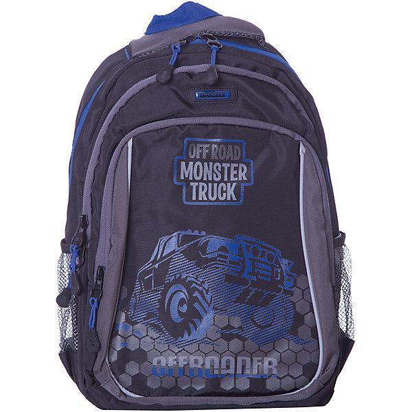 Купить Рюкзак школьный Grizzly, чёрный/, Китай, синий, Мужской