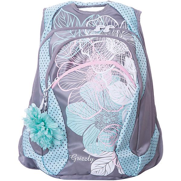 Рюкзак Grizzly, серый/мятныйРюкзаки<br>Характеристики:<br><br>• молодежный рюкзак;<br>• полужесткая анатомическая спинка;<br>• мягкая укрепленная ручка;<br>• укрепленные лямки;<br>• уплотненное дно;<br>• тип застежки: молния;<br>• вмещает формат А4;<br>• материал: полиэстер принтованный;<br>• размер рюкзака: 32х41х18 см;<br>• вес рюкзака: 740 г.<br><br>Молодежный рюкзак имеет два отделения, карман на молнии на передней стенке, внутренний карман-пенал для карандашей. Рюкзак с анатомической спинкой оснащен продольными подушечками из вентилируемого материала. Рюкзак представлен в розовом цвете, декорирован цветочным лиловым принтом. <br><br>Grizzly Рюкзак серый-мятный можно купить в нашем интернет-магазине.<br>Ширина мм: 320; Глубина мм: 40; Высота мм: 410; Вес г: 740; Цвет: мятный; Возраст от месяцев: 144; Возраст до месяцев: 2147483647; Пол: Женский; Возраст: Детский; SKU: 8333944;