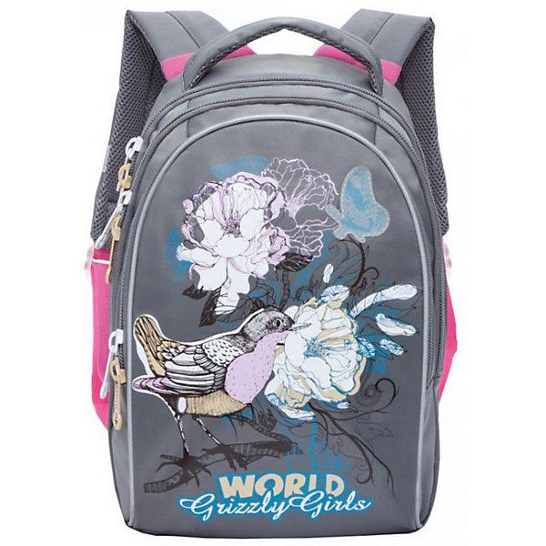 Рюкзак школьный Grizzly, серыйРюкзаки<br>Характеристики:<br><br>• школьный рюкзак;<br>• жесткая анатомическая спинка;<br>• дополнительная ручка-петля;<br>• мягкая укрепленная ручка;<br>• укрепленные лямки;<br>• уплотненное дно;<br>• тип застежки: молния;<br>• светоотражающие элементы;<br>• вмещает формат А4;<br>• материал: полиэстер;<br>• размер рюкзака: 27х37х17 см;<br>• вес: 657 г.<br><br>Школьный рюкзак имеет два отделения, внутренний карман-пенал для карандашей. Рюкзак оснащен дополнительными мягкими подушечками из вентилируемого материала. Светоотражающие элементы с четырех сторон позволяют обозначить ребенка в темное время суток в условиях недостаточной видимости. Рюкзак представлен в нежно-лиловом цвете. <br><br>Grizzly Рюкзак школьный серый можно купить в нашем интернет-магазине.<br>Ширина мм: 280; Глубина мм: 40; Высота мм: 410; Вес г: 760; Цвет: серый; Возраст от месяцев: 108; Возраст до месяцев: 144; Пол: Женский; Возраст: Детский; SKU: 8333946;
