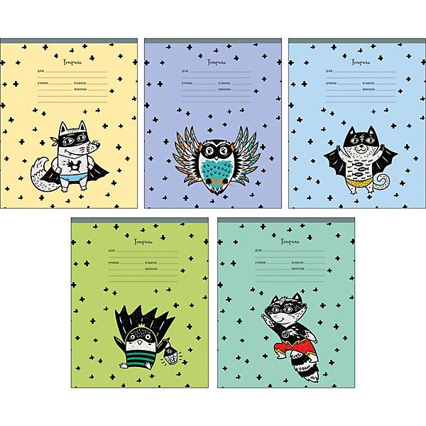Комплект тетрадей Канц-Эксмо Звери-супергерои, 10 шт.Тетради<br>Характеристики:<br><br>• возраст: от 6 лет;<br>• формат: А5;<br>• внутренний блок: 12 листов, линия, с полями;<br>• тип крепления: скрепка;<br>• количество в комплекте: 10 шт;<br>• плотность бумаги: 60 гр/кв.м;<br>• тип обложки: импортный мелованный картон 190 гр/кв.м;<br>• рисунок обложки: мульти;<br>• размер упаковки: 20х16,3х2 см;<br>• вес в упаковке: 390 гр;<br>• страна бренда: Россия.<br><br>Комплект тетрадей Канц-Эксмо «Звери-супергерои» состоит из 10 тетрадей формата А5. Внутренний блок на скрепках, листы в линию, с полями. Обложки выполнены из мелованного картона.<br><br>Комплект тетрадей Канц-Эксмо «Звери - супергерои» А5, 10 шт. можно купить в нашем интернет-магазине.<br>Ширина мм: 200; Глубина мм: 163; Высота мм: 20; Вес г: 390; Цвет: разноцветный; Возраст от месяцев: 72; Возраст до месяцев: 2147483647; Пол: Унисекс; Возраст: Детский; SKU: 8334104;
