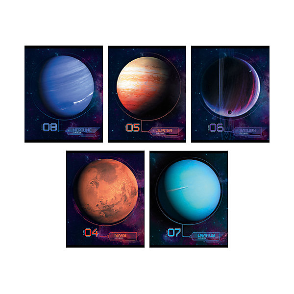 Комплект тетрадей Канц-Эксмо Парад планет, 5 шт.Тетради<br>Характеристики:<br><br>• возраст: от 6 лет;<br>• формат: А5;<br>• внутренний блок: 48 листов, в клетку, с полями;<br>• тип крепления: скрепка;<br>• количество в комплекте: 5 шт;<br>• плотность бумаги: 60 гр/кв.м;<br>• тип обложки: импортный мелованный картон, твин-лак, печать по металлизированной пленке Серебро 210 гр/кв.м;<br>• рисунок обложки: мульти;<br>• размер упаковки: 20х16,3х2 см;<br>• вес в упаковке: 545 гр;<br>• страна бренда: Россия.<br><br>Комплект тетрадей Канц-Эксмо «Парад планет» состоит из 5 тетрадей формата А5. Внутренний блок на скрепках, листы в клетку, с полями. Обложки выполнены из мелованного картона.<br><br>В дизайне обложки тетради используется технология термографии. Рисунок приобрел дополнительный объем и рельефность, приятен на ощупь.<br><br>Комплект тетрадей Канц-Эксмо «Парад планет» А5, 5 шт., в клетку можно купить в нашем интернет-магазине.<br>Ширина мм: 200; Глубина мм: 163; Высота мм: 20; Вес г: 545; Цвет: разноцветный; Возраст от месяцев: 72; Возраст до месяцев: 2147483647; Пол: Унисекс; Возраст: Детский; SKU: 8334108;