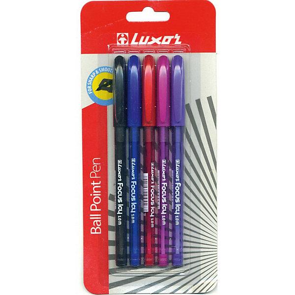 Шариковые ручки Luxor Focus Icy 5 шт, 4 цветаРучки<br>Характеристики товара:<br><br>• возраст: от 3 лет.<br>• Кол-во в наборе: 5 шт. <br>• Цвет чернил в ассортименте: синий, фиолетовый, розовый,  красный, черный<br>• Толщина линии - 0,8 мм<br>• Цвет колпачка соответствует цвету чернил <br>• размер упаковки: 1х10х20 см;<br>• вес: 66 гр.<br><br>Шариковые ручки Focus, 0.8 мм, чернила которых оставляют ровные четкие линии, быстро высыхают и сохраняют яркость цвета.<br><br>Ручка шариковая Focus, 0.8 мм, 5штук в упаковке, 3 цвета можно купить в нашем интернет-магазине.<br>Ширина мм: 100; Глубина мм: 13; Высота мм: 200; Вес г: 66; Цвет: разноцветный; Возраст от месяцев: 36; Возраст до месяцев: 2147483647; Пол: Унисекс; Возраст: Детский; SKU: 8334204;