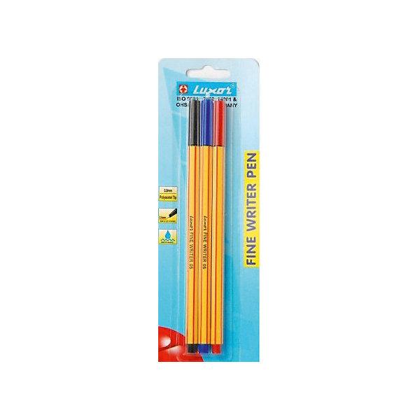 Набор капилярных ручек Luxor Finliner 3 шт, 3 цветаРучки<br>Характеристики:<br><br>• капилярная ручка;<br>• в комплекте 3 шт.;<br>• материал: пластик;<br>• диаметр ручки: 0,7 см.;<br>• толщина линии: 0,45 мм.;<br>• длина ручки: 16,5 см.;<br>• упаковка: блистер;<br>• размер упаковки: 21х6х1 см;<br>• вес: 40 г.<br><br>Капиллярная ручка Luxor идеально подходит для особо легкого и мягкого письма, рисования и черчения. Металлическое обжатие наконечника дает возможность работать с линейками и трафаретами. Высокое качество износостойкого пишущего наконечника и большой запас чернил значительно увеличивают срок службы ручки. Ручка долгое время сохраняет работоспособность без колпачка. Чернила на водной основе. Цвет колпачка соответствует цвету чернил.<br><br>Ручка Finliner, толщина линии 0.45мм, 3 цвета можно купить в нашем интернет-магазине.<br>Ширина мм: 70; Глубина мм: 10; Высота мм: 210; Вес г: 11; Цвет: разноцветный; Возраст от месяцев: 36; Возраст до месяцев: 2147483647; Пол: Унисекс; Возраст: Детский; SKU: 8334206;