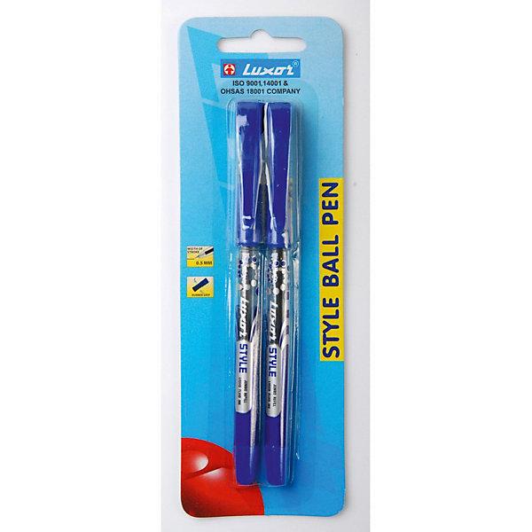 Шариковые ручки Luxor Style 2 шт, синиеРучки<br>Характеристики товара:<br><br>• возраст: от 3 лет;<br>• в комплекте: 2 ручки;<br>• тип ручки: шариковая;<br>• прорезиненный корпус;<br>• цвет чернил: синий;<br>• ширина линии: 0,5 мм;<br>• размер упаковки: 1х3х17 см;<br>• вес: 40 гр.<br><br>Ручки шариковые Style имеют пластиковый корпус, что обеспечивает правильный захват и комфортное письмо. В комплект входят две ручки с синими чернилами. Чернила оставляют ровные четкие линии, быстро высыхают и сохраняют яркость цвета.<br><br>Ручка шариковая Style, толщина линии  0.5 мм, 2 штуки в упаковке, цвет пасты  синий, блистер можно купить в нашем интернет-магазине.<br>Ширина мм: 70; Глубина мм: 13; Высота мм: 200; Вес г: 39; Цвет: синий; Возраст от месяцев: 36; Возраст до месяцев: 2147483647; Пол: Унисекс; Возраст: Детский; SKU: 8334218;