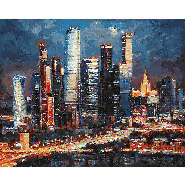 Купить Картина по номерам Белоснежка «Вечерние огни: Москва сити», 40x50 см, Китай, Унисекс