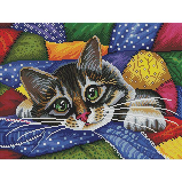 Белоснежка Алмазная мозаика Белоснежка «Котик в лоскутках», 30х40 см наборы для рисования белоснежка живопись на холсте размер 30х40 см весёлые зайцы 774 as