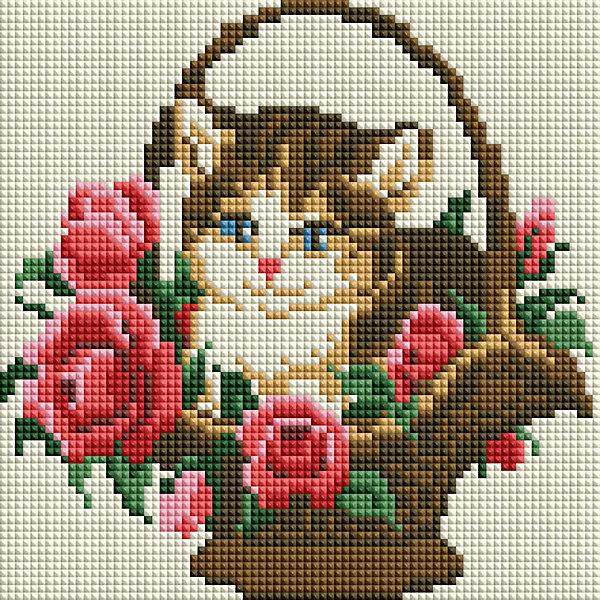 Белоснежка Алмазная мозаика Белоснежка «Котенок в корзинке», 20х20 см