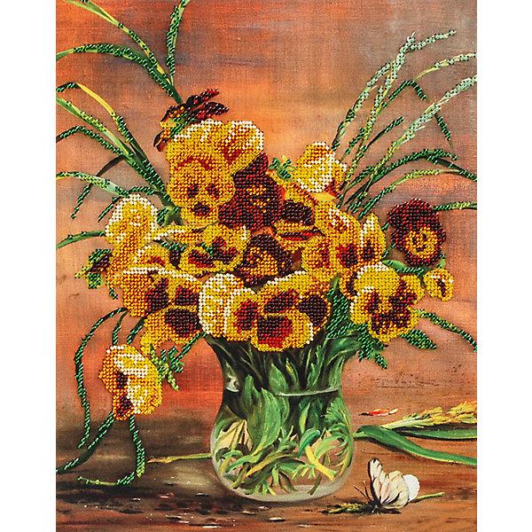 Белоснежка бор для вышивания бисером Белоснежка «Анютины глазки в вазе», 24х30 см