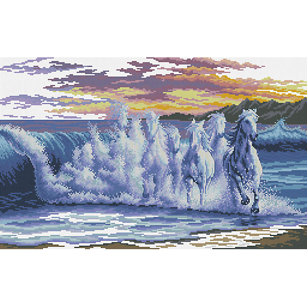 Белоснежка Набор для вышивания Белоснежка «Волны- скакуны», 445х62 см набор для творчества белоснежка картина со стразами красная роза 30 30см