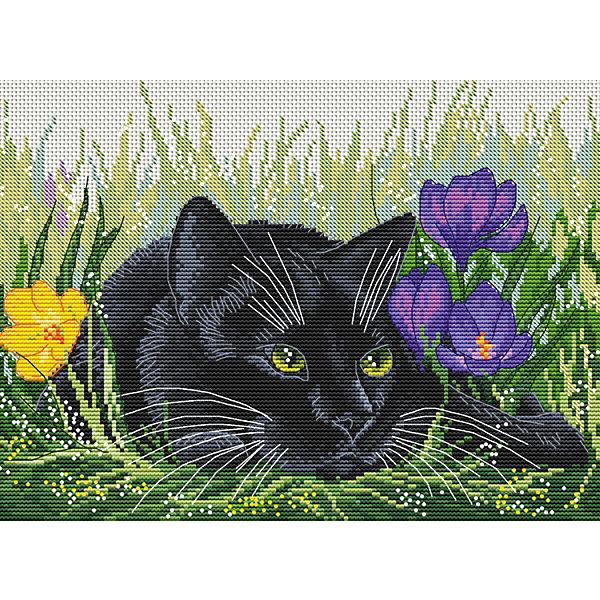 Набор для вышивания Белоснежка «Кот и крокусы», 20х27,5 см