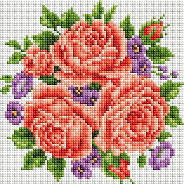 Белоснежка Алмазная мозаика Белоснежка «Розы и фиалки» ,20х20 см
