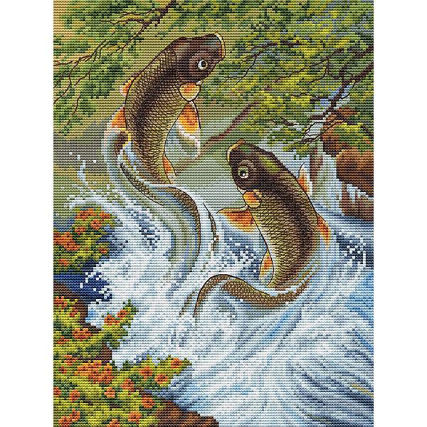 Белоснежка Набор для вышивания Белоснежка «Прыгающие карпы», 29х35 см канва с рисунком для вышивания бисером hobby