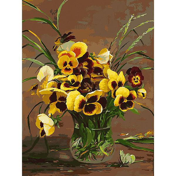 Белоснежка Картина по номерам «Анютины глазки в вазе», 30x40 см